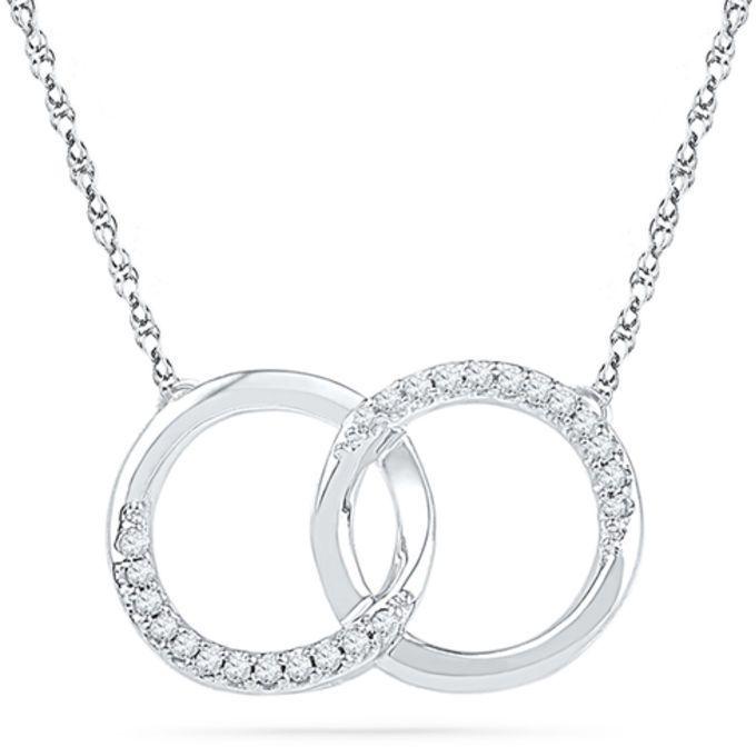 Zales 1/10 CT. T.W. Diamond Interlocking Circles Necklace in 10K White Gold