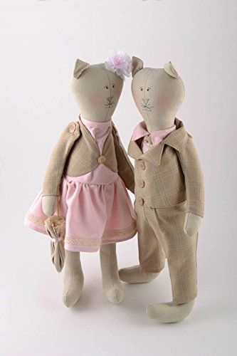 This set of soft toys represents a couple of cats in love. The items are sewn of natural fabrics and filled with holofiber. Both cats are dressed in stylish clothingof pastel colors and cat girl even holds a small umbrella in its paw. These interior toys will be a magnificent present for friends... see more details at https://bestselleroutlets.com/baby/health-baby-care/product-review-for-set-of-2-designer-handmade-linen-fabric-tender-soft-toys-cat-boy-and-cat-girl/