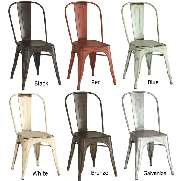 Vintage Distressed Rustic Metal Dining Chairs (Set of 4)