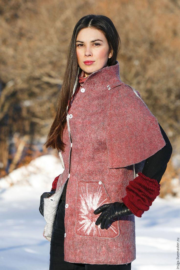 Купить Пальто валяное Амелия - брусничный, валяное пальто, пальто валяное, брусничное пальто