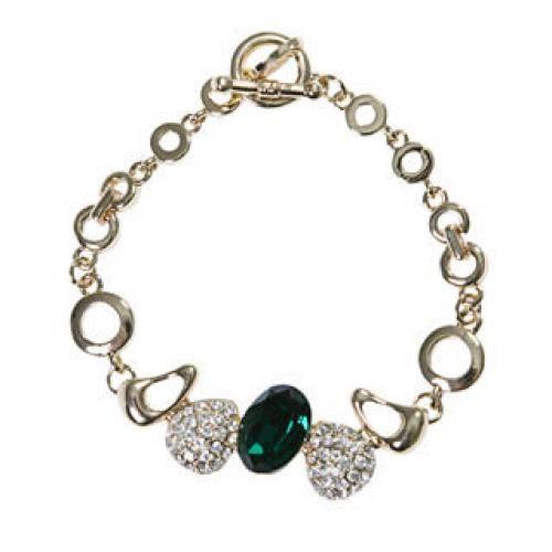 Rhinestone Bracelet Gold - One Size