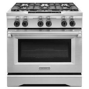36-Inch 6-Burner Dual Fuel Freestanding Range, Commercial-Style (KDRS467VSS)   kitchenaid®