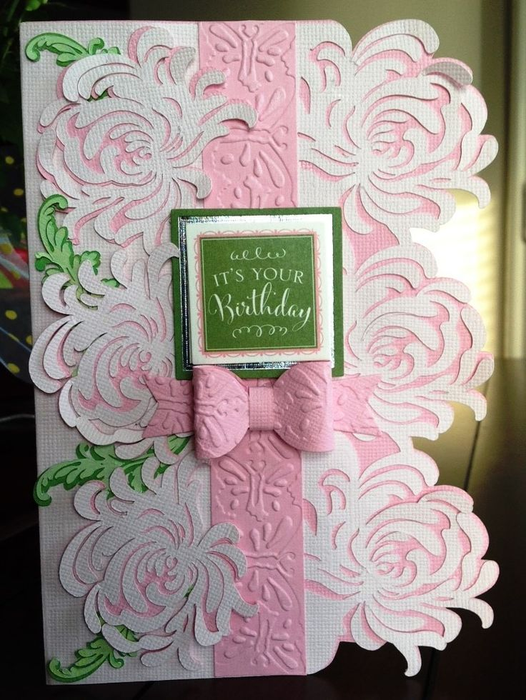 Card By D Marshall Using Anna Griffin Garden Mum Layout And Sentiment. Bow  Made From