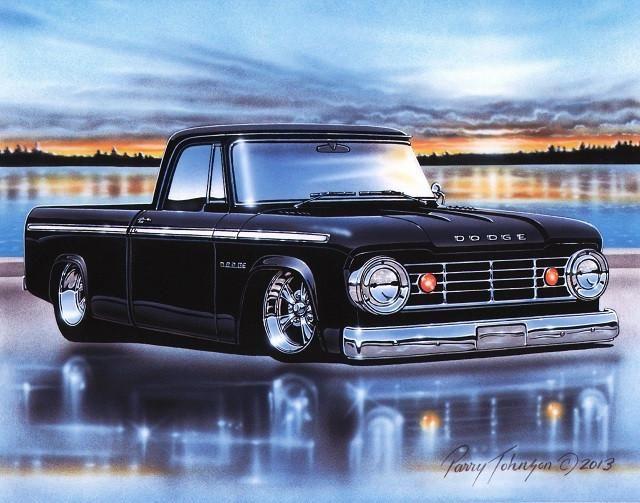 1966 Dodge D100 Pickup Truck Art Print Custom Trucks Pickup Trucks Vintage Trucks