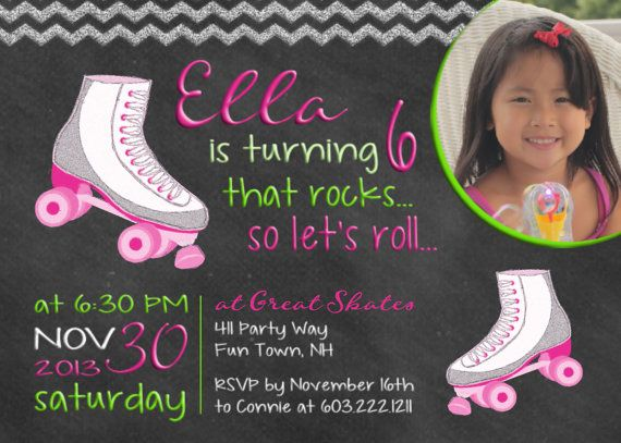 Free Roller Skating Birthday Party Invitations ~ Best girl birthday party invitations images
