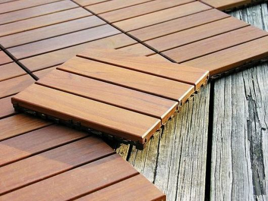 Interlocking deck tiles could be on a raised platform for Terrace tiles