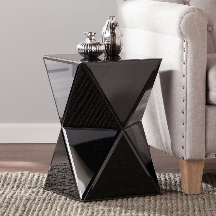 harper blvd jordan black mirrored accent table os9051co