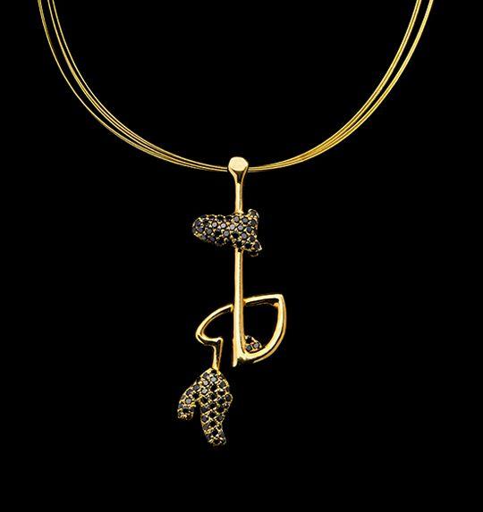 Melancolia | Colgante con diamantes negros y oro 18k - Pendant with black diamonds and 18k gold #StudioJewellery #SignatureJewellery #Exclusive #Jewelry #ArtInJewelry #Luxury #ArtLife #ArtLove #BlackDiamonds