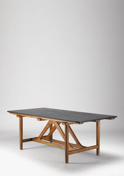 Børge Mogensen. Oak table with slate top. Denmark, 1951