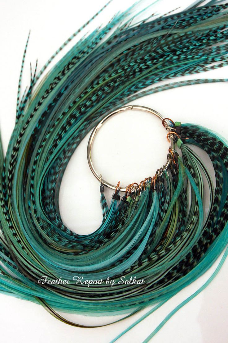 Turquoise Long Feather Hair Extensions Thin Feathers Hair Wholesale Hair Feather Extension Bundle Teal Blue Feathers Mix, QTY10. $13.50, via Etsy.