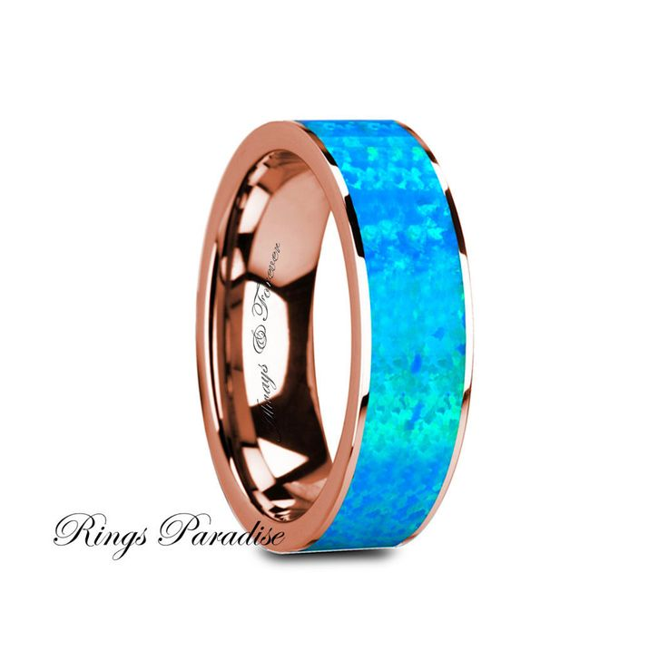 14k Gold Engagement Rings, Wedding Bands, Blue Opal Inlay Ring,  Polished 14K Rose Gold with Blue Opal Inlay & White Diamond Setting - 8mm by RingsParadise on Etsy