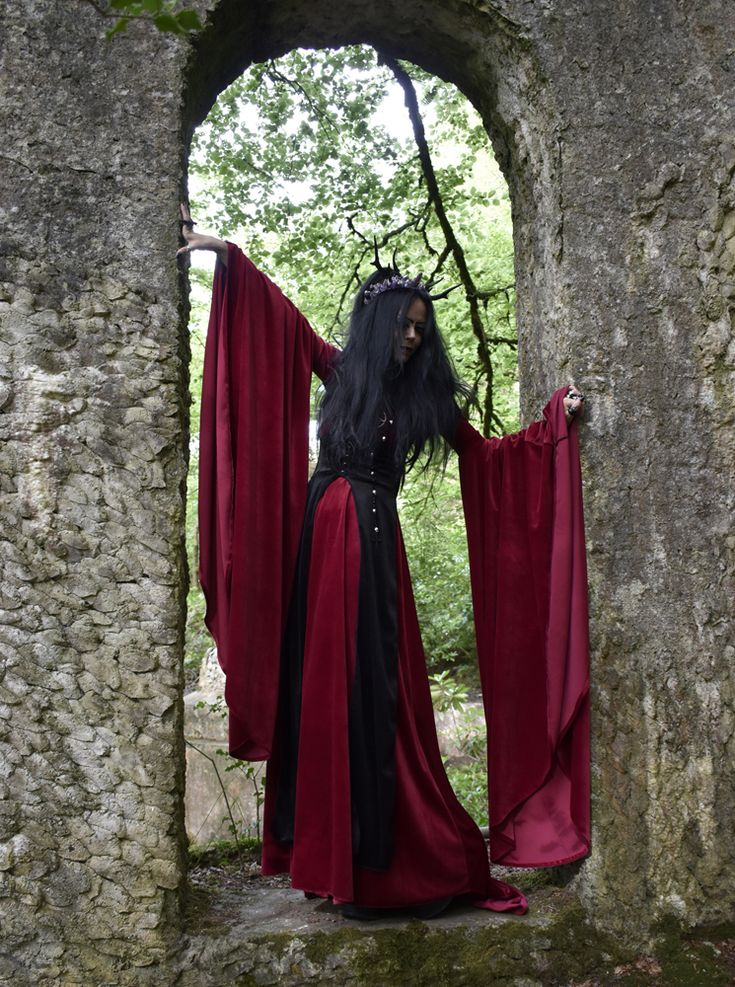 Celebrian Gown -  steamed velvet arwen elven goth medieval gown by  Moonmaiden Gothic Clothing UK