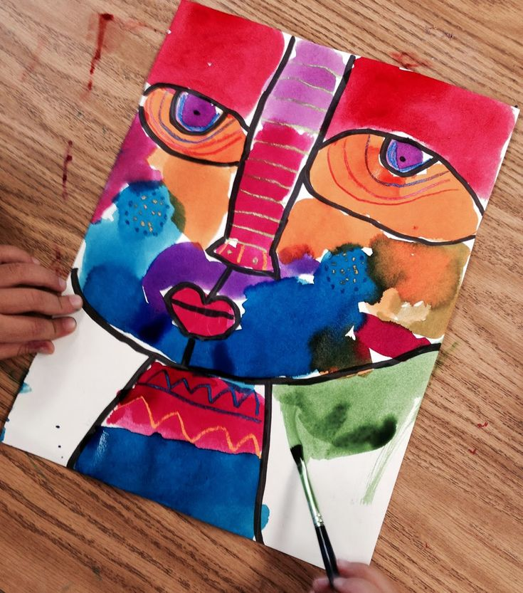 Art Projects for Kids: Big Face Painting. Simply my favorite painting project for kids. Ever. This was painted last week by a little kinder girl.