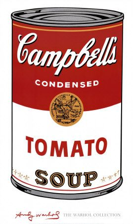 i have chosen Andy Warhol because i like how he uses simple compositions to make a large impression, i.e the single soup can, he uses bright colours and very little tone to make a large statement with one single picture. i also like his simplicity as it is very different to the other artists and pictures as this makes it all the more eyecatching
