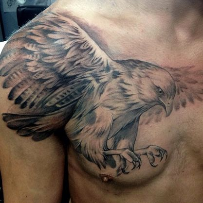 Black and grey eagle tattoo by Elvia at Adrenaline Vancity