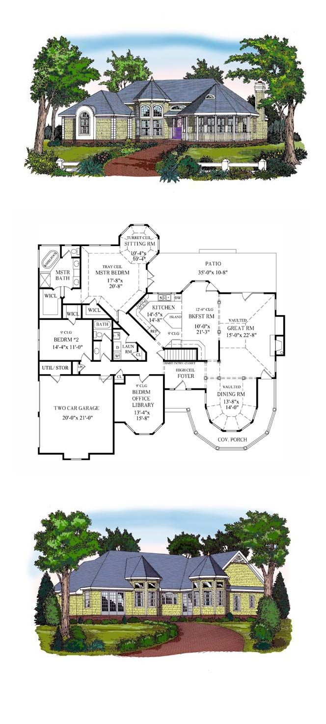 Victorian House Plan 79514 | Total Living Area: 2367 sq. ft., 3 bedrooms and 2 bathrooms. Volume ceilings predominate throughout this great plan. Angled plans in the kitchen and great master suite are new age additions that make the home even more exciting. #victorianhome