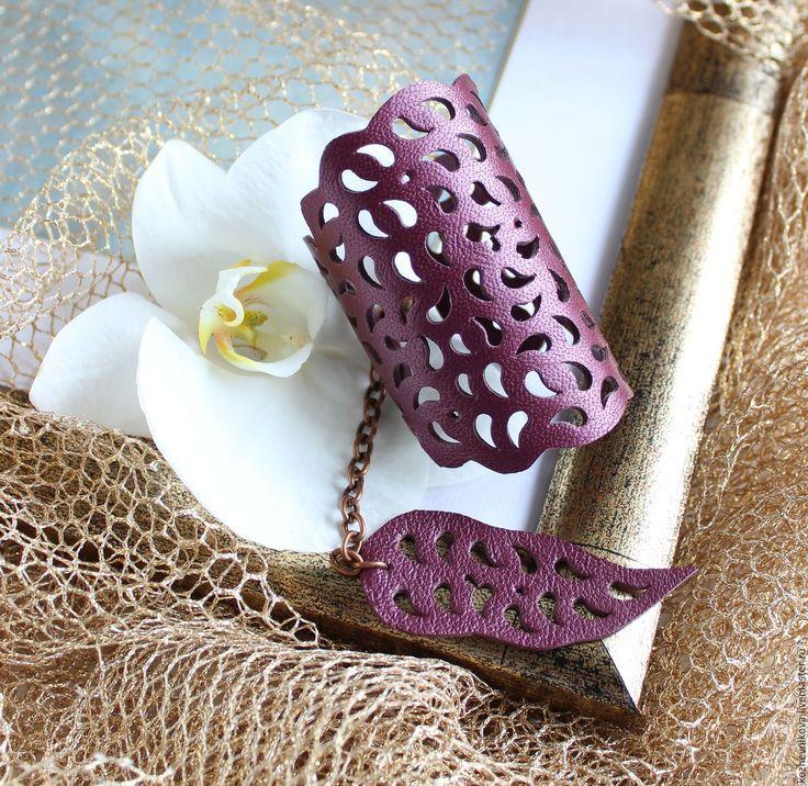 Купить Кожаный браслет Фиолетовое кружево - фиолетовый, Елена Кожевникова, кожаный браслет, браслет кожаный
