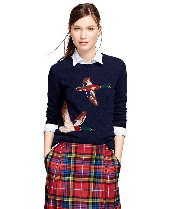 Brooks Brothers Wool Intarsia Sweater Navy - looks great with jeans and boots