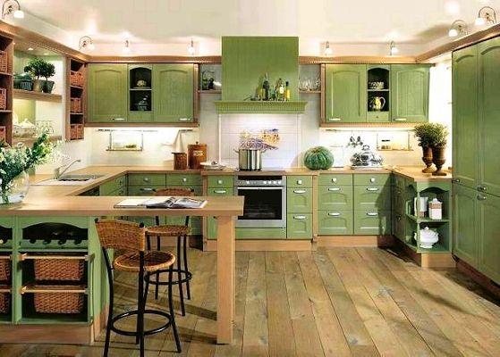 Cocinas muebles blancos combinados con verde buscar con - Fotos de cocinas antiguas ...