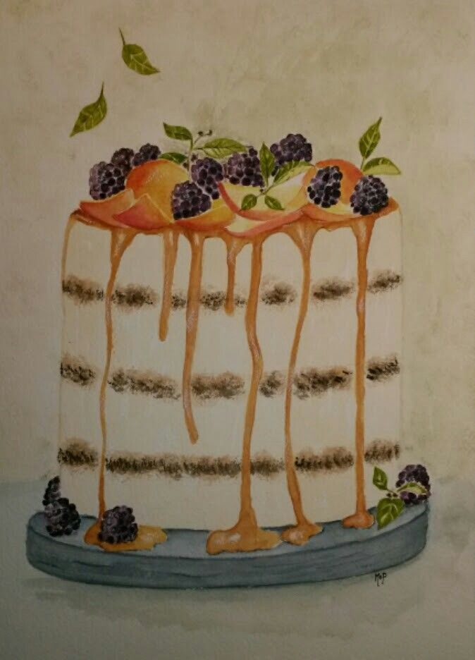 Apricot brumble cake with caramel. Available at my Etsy store