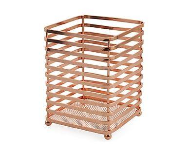 Подставка для столовых приборов - металл - медный, 12х12х16 см