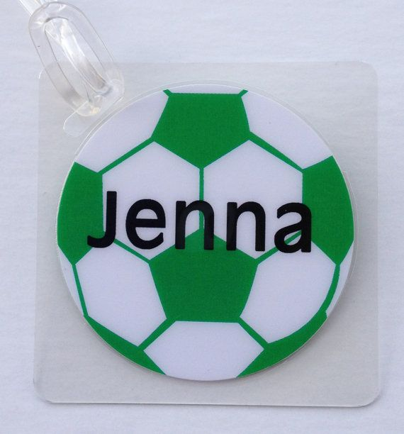 Soccer Bag Tag Soccer Party Favor Personalized by Toddletags, $5.95 #soccer #youth #sports
