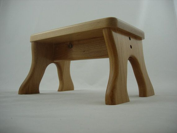 Tip-Resistant Alder Step Stool, Wooden, Wood, Natural Stain, Kids Stepstools by LaffyDaffy on Etsy