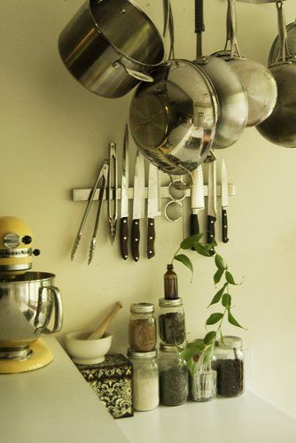 Magnetic strip in kitchen for pots