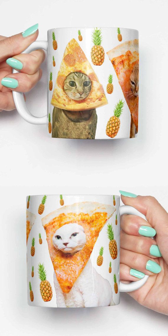 FREE SHIPPING coupon SHIPPY When spending over $28/£20/€26  Pineapple pizza cats - coffee mug. This unique meme mug is a great gift for him or a gift for her. Can also be a great housewarming gift. Lastly this would be a cool office mug.  Dishwasher and microwave safe with amazing quality