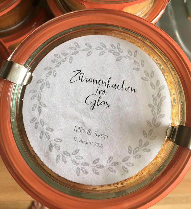 Zitronenkuchen im Glas - selbstgemachtes Gastgeschenk Hochzeit
