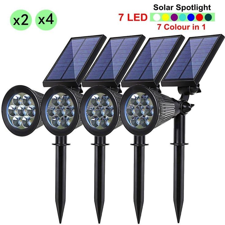 2/4PCS 7 LED Solar Spotlight Flood Lights Landscape Waterproof Yard Lawn Lamp