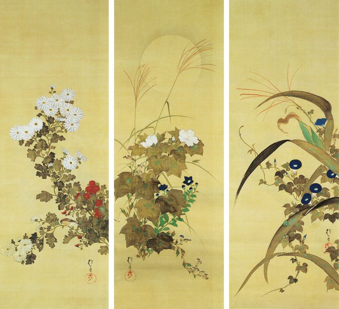 Sakai Hoitsu: trio, from twelve hanging scrolls set, Flowers and Birds of Twelve Months. 1823, Edo period. Japan. color on silk. Imperial Collection, Tokyo, Japan
