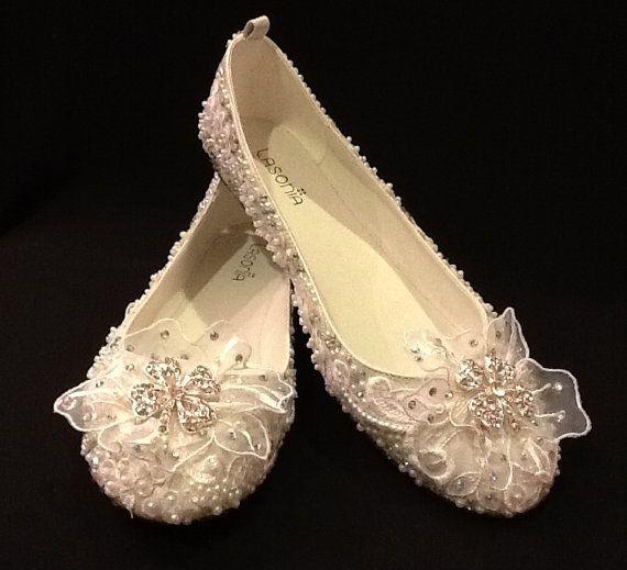 Wedding Shoes Bridal Ballet Flats Rhinestones by Elfinacreation, $95.99