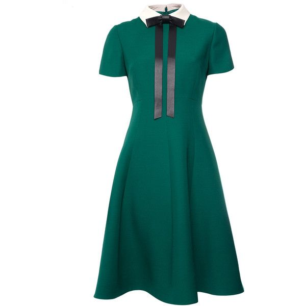 Valentino Green Leather Bow Wool and Silk-Blend Dress (€2.740) ❤ liked on Polyvore