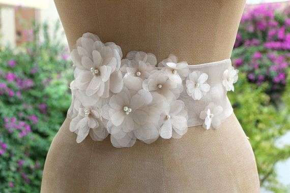 Champagne organza floral bouquet wedding dress belt /sash,night dress belt, bridesmaid accessories on Etsy, $58.00