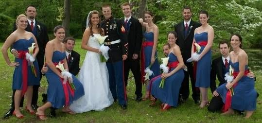 Beautifully dressed Military wedding party