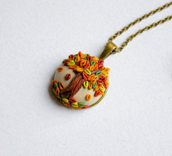 Fall tree pendant - polymer clay tree necklace - colorful autumn leaves