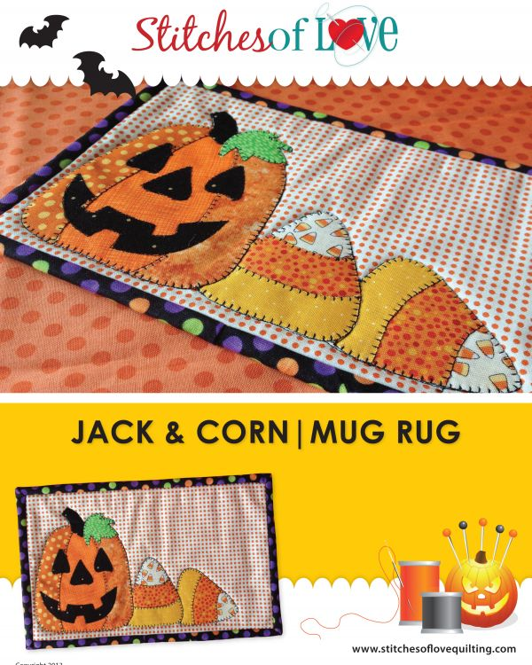 jack and corn mug rug pattern by stitches of love quilting stitches of love quilting - Halloween Rugs
