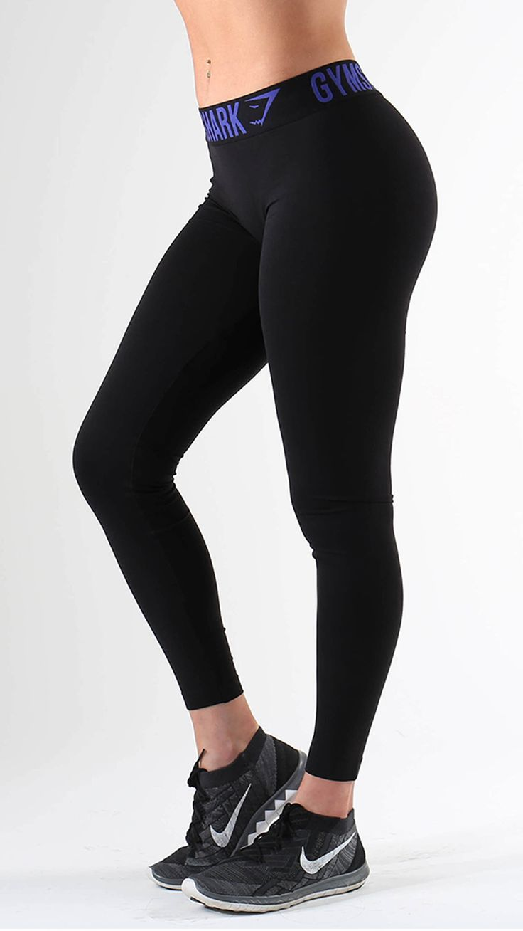 Fit Leggings in Black/Indigo are form hugging and figure flattering gym leggings with on trend performance waistband