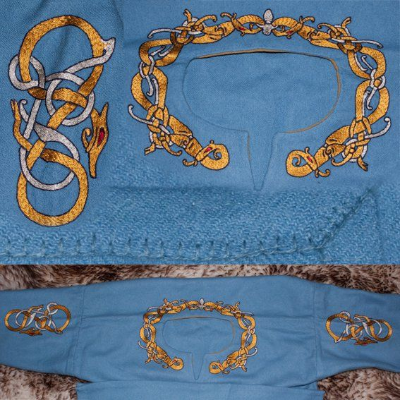 Embroidery on a provided garment. Silk on wool. Pattern in Gotlandic style. Garment finish in wool.