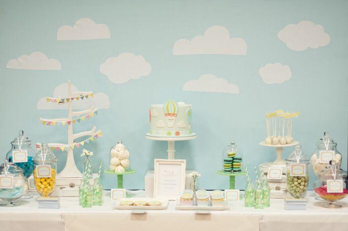 Blue & Green Hot Air Balloon Party: Shower Ideas, Hot Air Balloon, Amy Atlas, Theme Parties, Parties Ideas, Atlas Events, Desserts Tables, Balloon Parties, Baby Shower