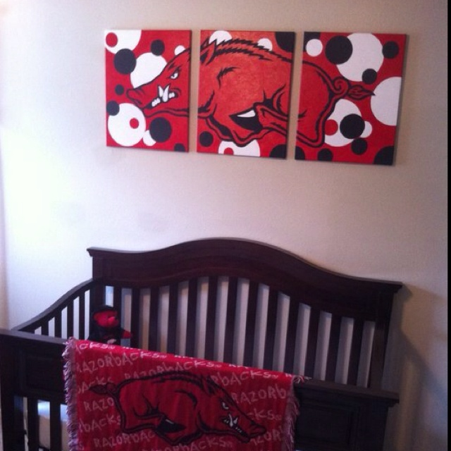 Acrylic Razorback painting on three canvas' above baby crib...made by one of my fave peeps! (though my boys believe he and his lovely bride were brought into this world to be their playmates!)