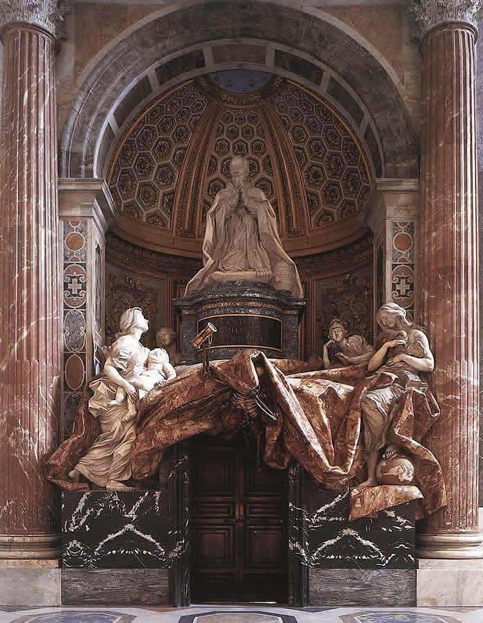 Bernini, Nagrobek Aleksandra VII, 1673-74, marmur, brąz, złoto, Bazylika św. Piotra