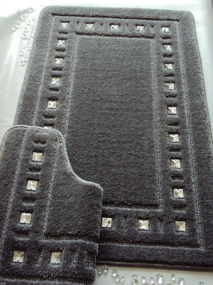 Gray Bathroom Rug Sets. Bath Mat Set Diamante Silver Grey Ebay
