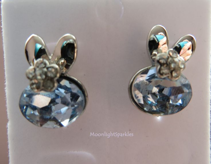 Cute Blue Rabbit Crystal Earrings