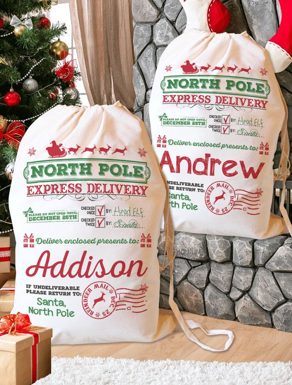 Santa Sack. Personalized, Christmas Stocking, Santa bag, Christmas Bag, Add Your Child's Name - DESIGN 1