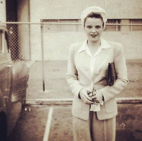 "franciegummstarstruck: ""Judy Garland photographed on the MGM studio parking lot in the early 1940s """