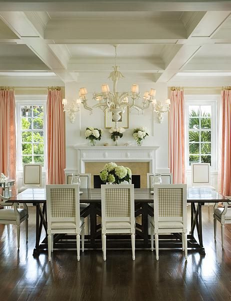 White Dining Room With Salmon Curtains Khaki Gingham Chair Backs Simple Hydrangeas