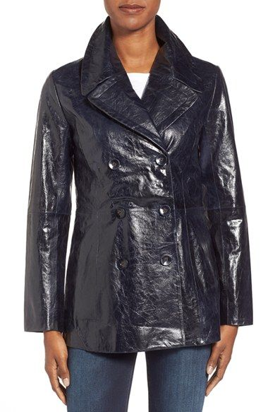 Halogen® High Shine Leather Peacoat available at #Nordstrom