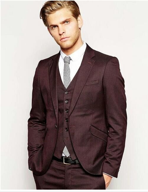 Новый Дизайн Slim Fit Черный Серый красный Белый Формальные Мужчины Костюм Жениха Смокинги Groomsmen Шафер MenWeddingSuits (Куртка + брюки + Жилет + галстук) купить на AliExpress